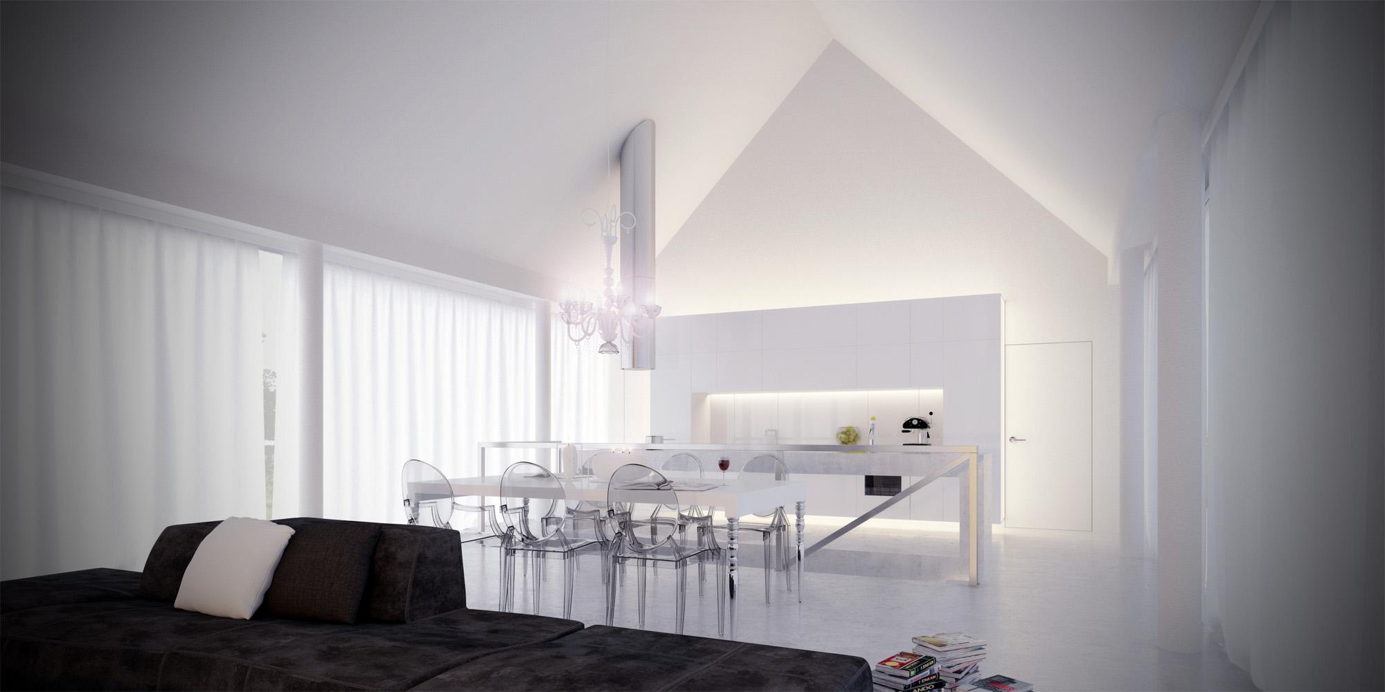 White & Brutal - wizualizacja wnętrza 1