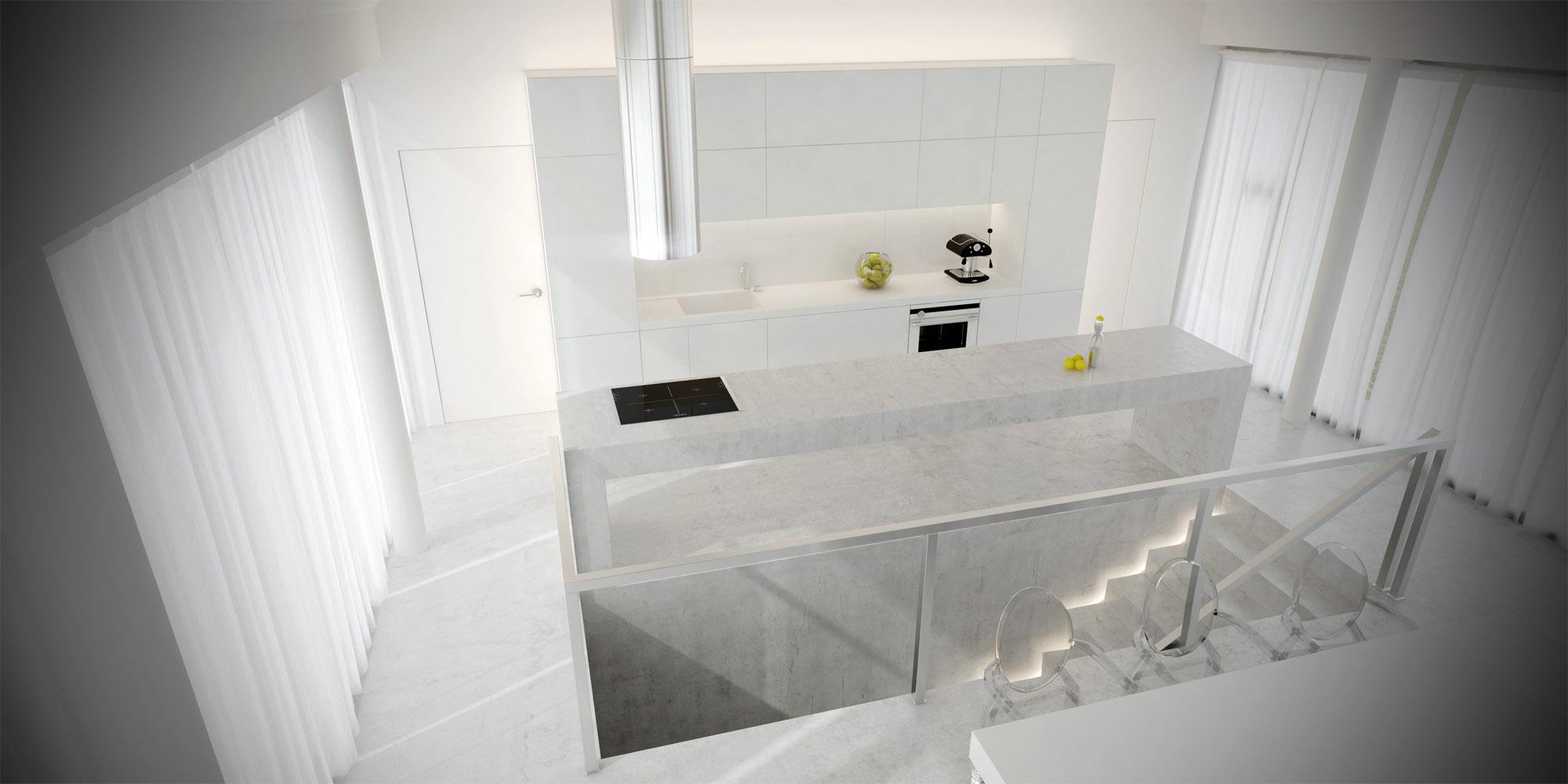 White & Brutal - wizualizacja wnętrza 2