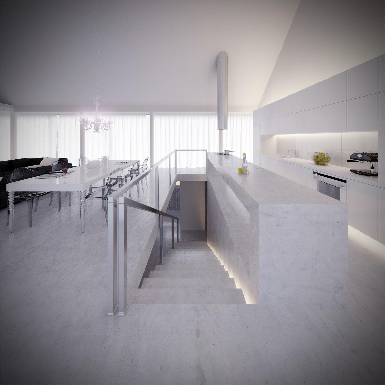 White & Brutal - wizualizacja wnętrza 3