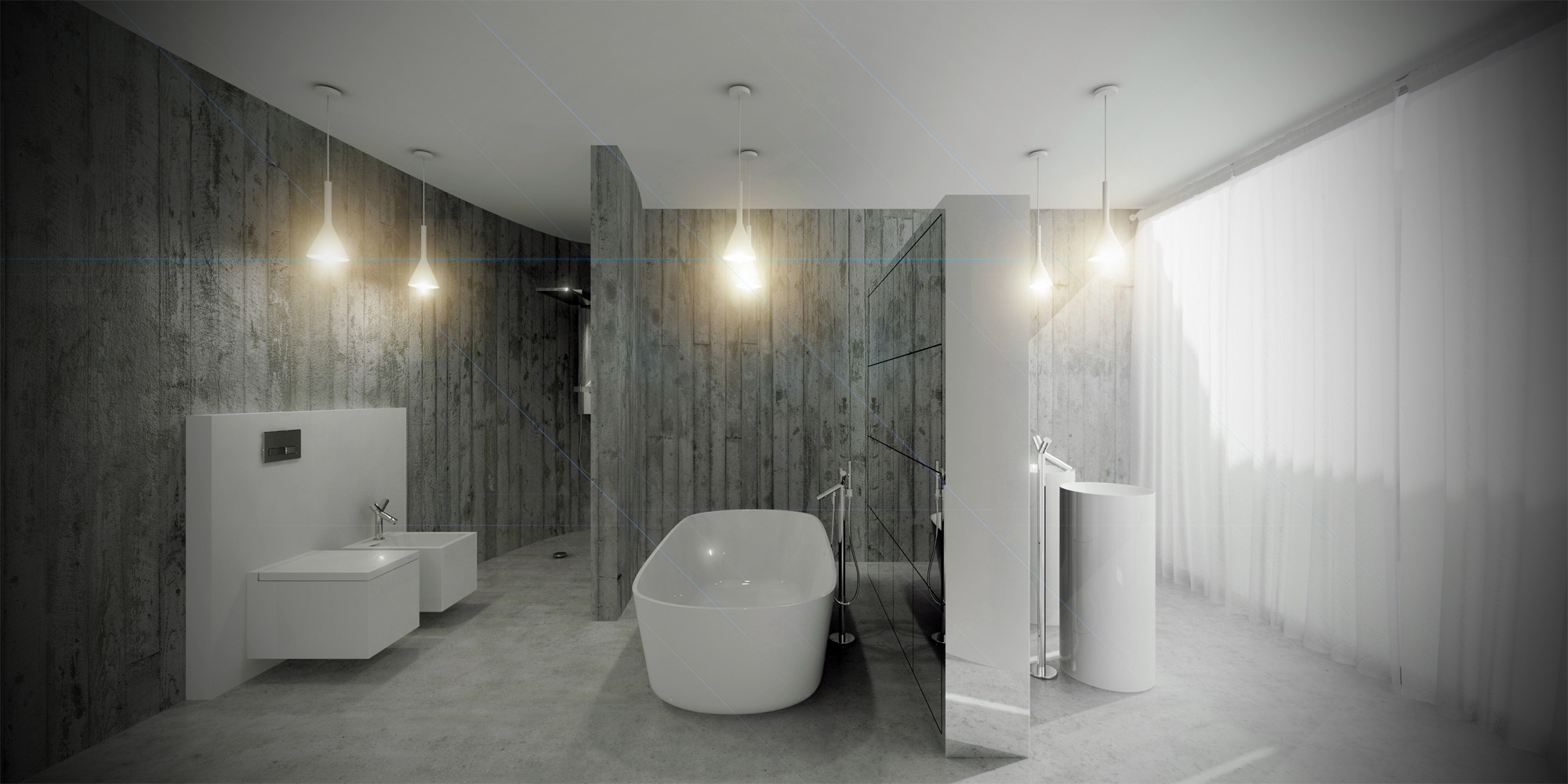 White & Brutal - wizualizacja wnętrza 7