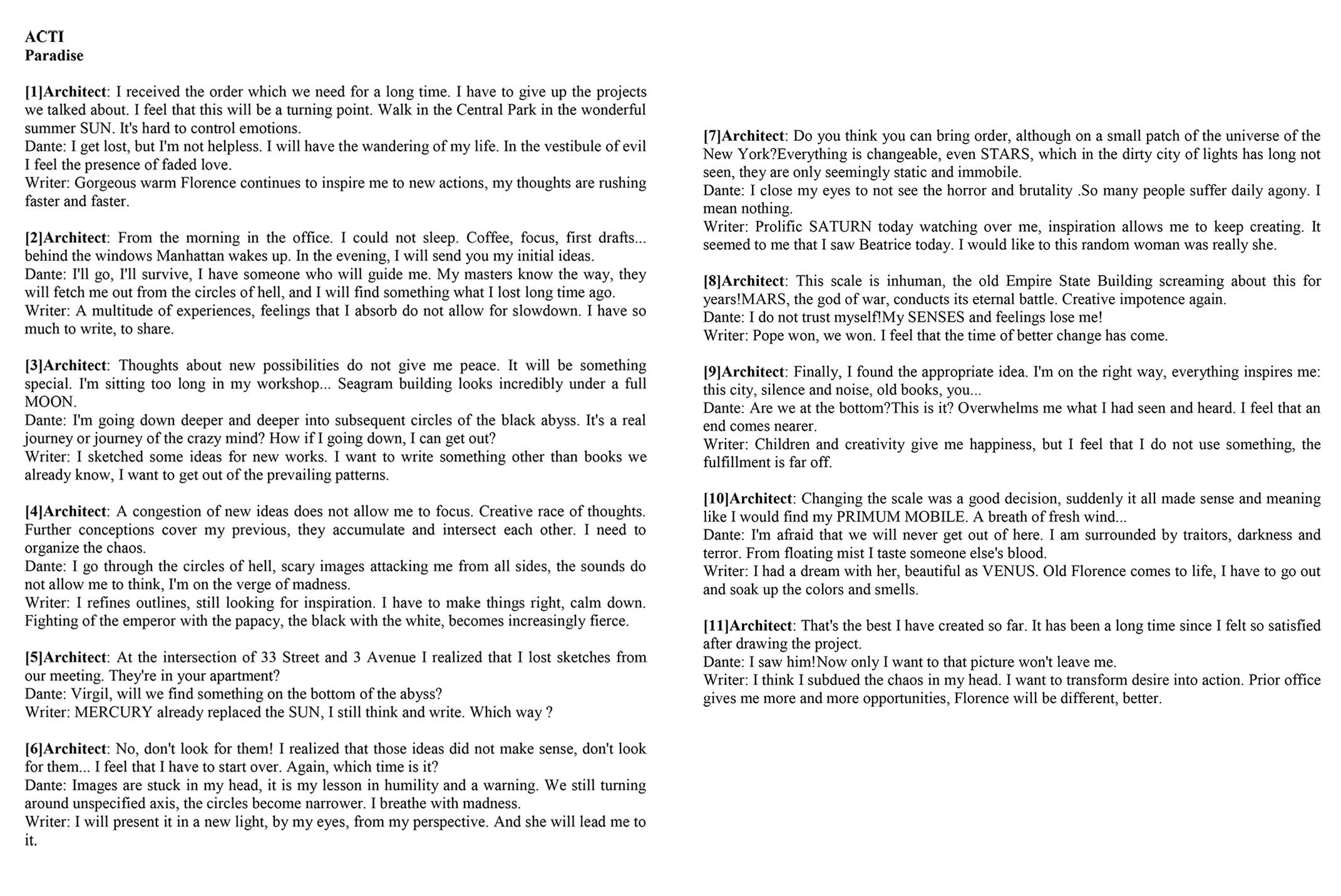 Dekonstrukcja Dantego - akt 1