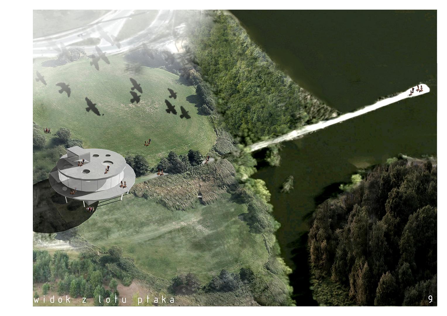 Pawilon edukacyjny - widok z lotu ptaka