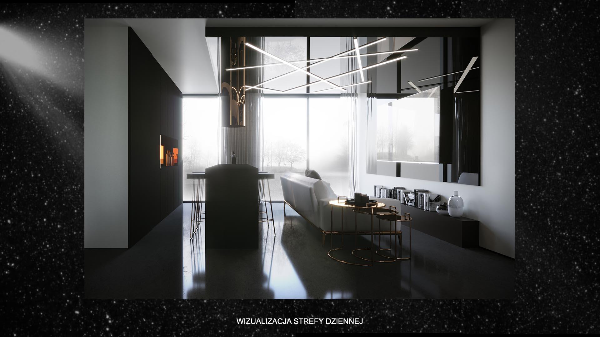 Apartament kometa - wizualizacja strefy dziennej