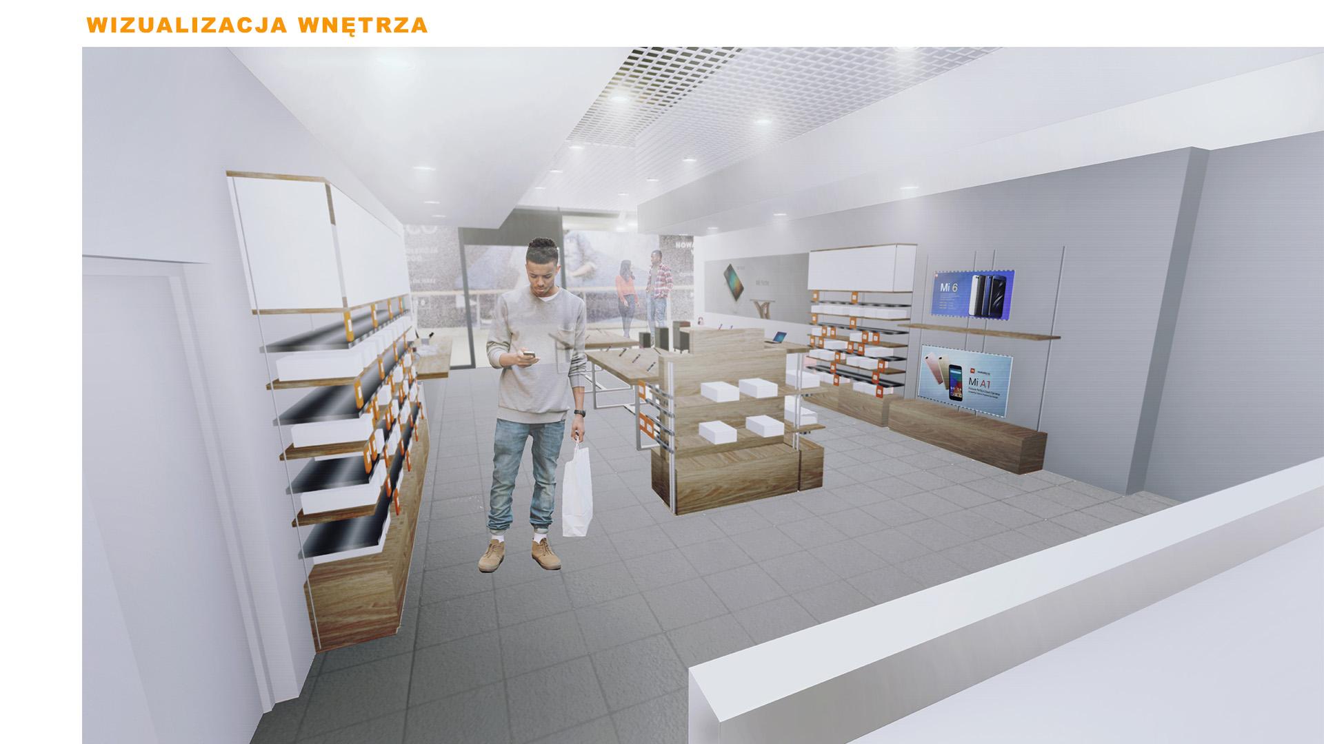Mi-Store - Wrocław - Pasaż Grunwaldzki - wizualizacja wnętrza