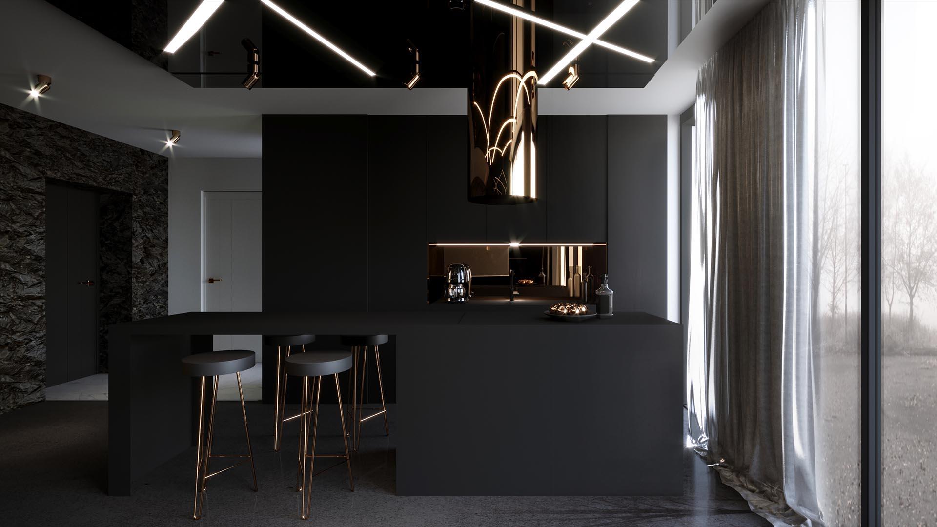 Apartament kometa - wizualizacja kuchni