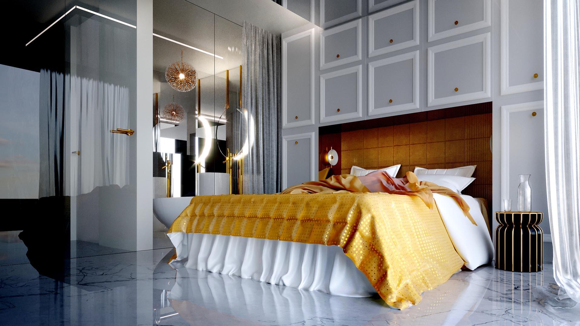 Apartament kometa - wizualizacja sypialni 2