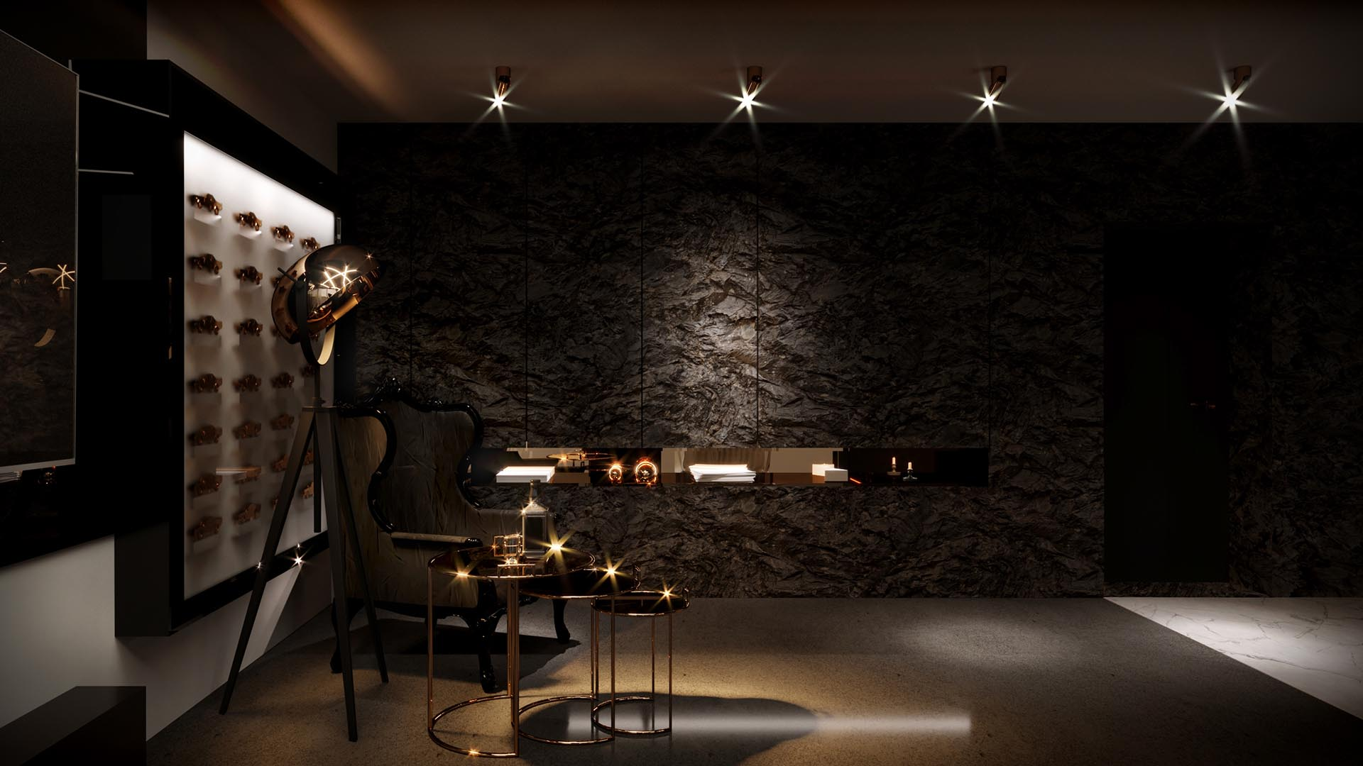 Apartament kometa - wizualizacja salonu 2