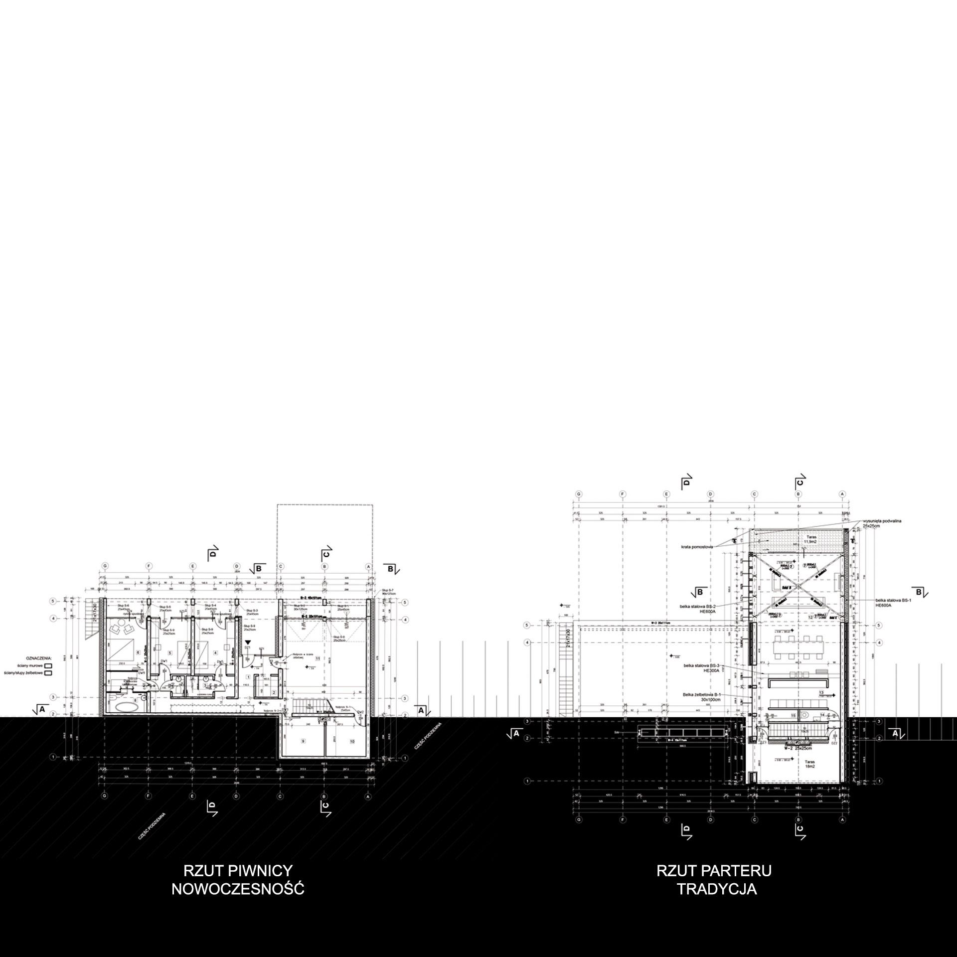 Latająca stodoła - rzut piwnicy i parteru