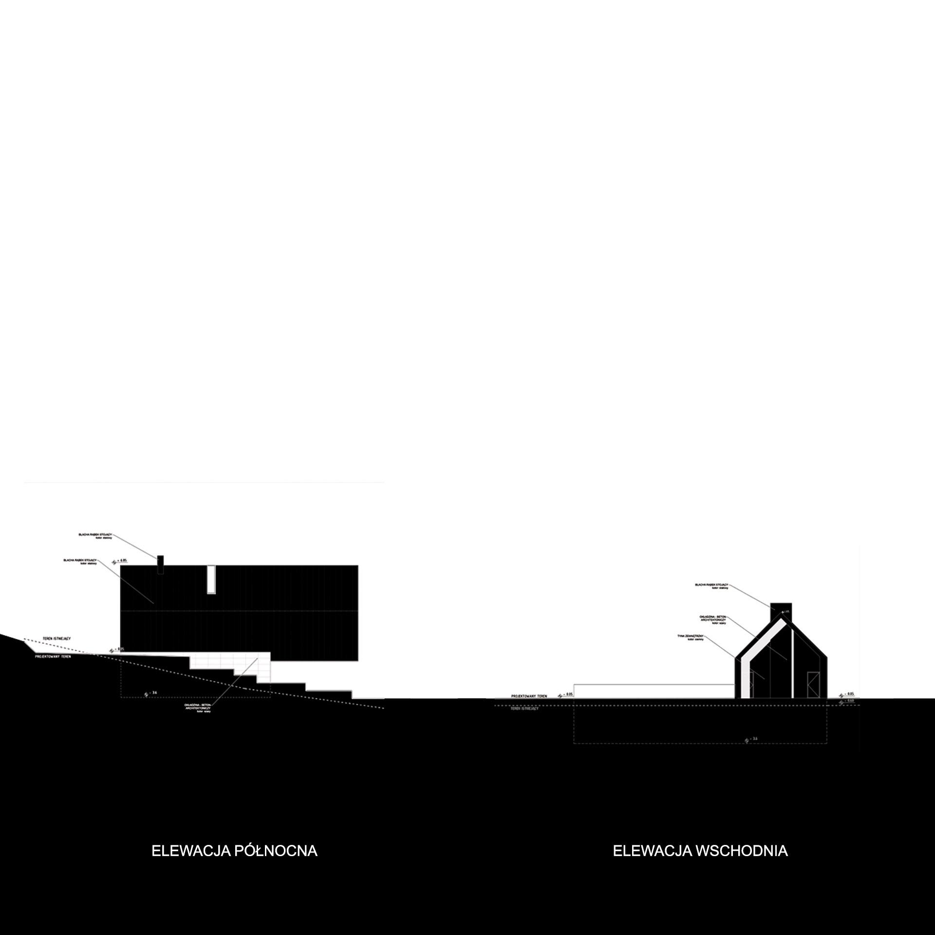 Latająca stodoła - elewacja północna i wschodnia
