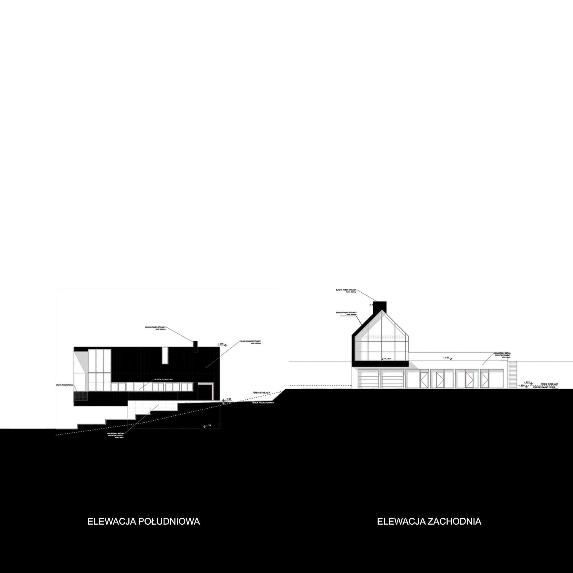 Latająca stodoła - elewacja południowa i zachodnia